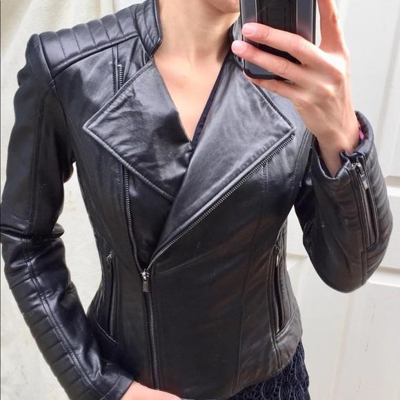 Black Rivet Jackets Coats Women Genuine Leather Moto Jacket Xs
